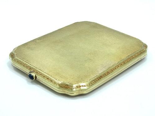 Antique ART DECO 14k Gold Filigree Blue SAPPHIRE Button Cigarette Case 132.5 gm