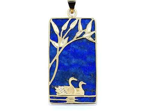 Vintage ROK BLUE LAPIS LAZULI Rectangle 14k Yellow Gold SWAN LAKE SCENE Pendant