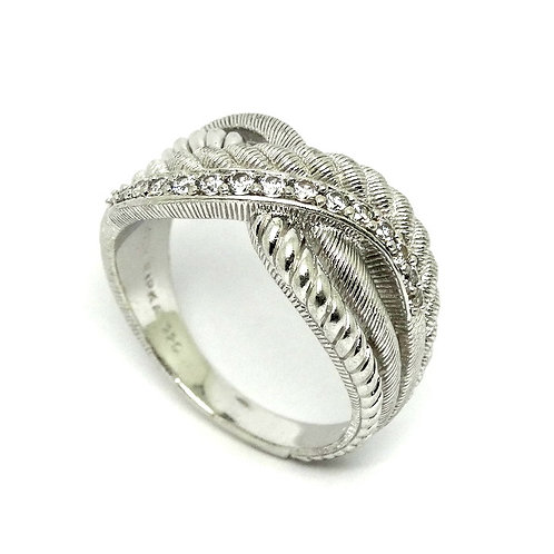 JUDITH RIPKA Cable Rope CZ Cross-over Sterling Silver Ring