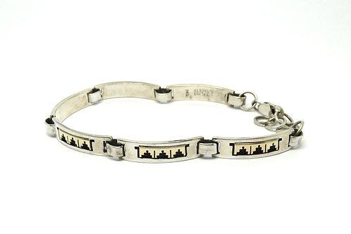 Navajo SCOTT SKEETS 14K Gold Inlay Pyramid & 925 Silver Bracelet
