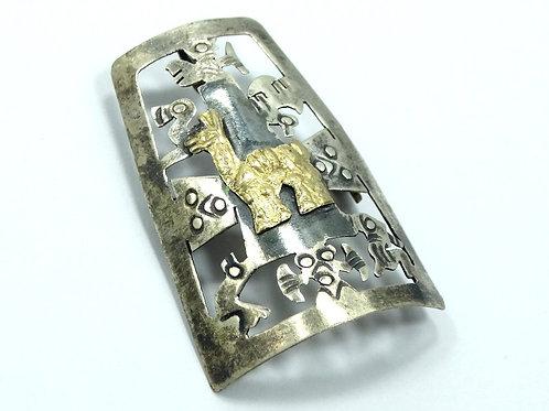 Antique PERU 18k Gold Llama 925 Silver Bolo Tie Scarf Clip Brooch Pin Pendant
