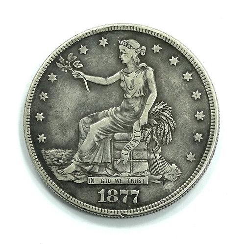 Rare OPIUM SMUGGLER'S 1877 S Silver TRADE DOLLAR COMPACT Drug Pill Box Case