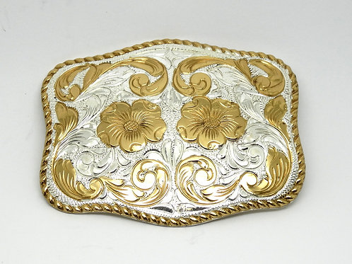 Ladies Crumrine Rectangular Flower Belt Buckle