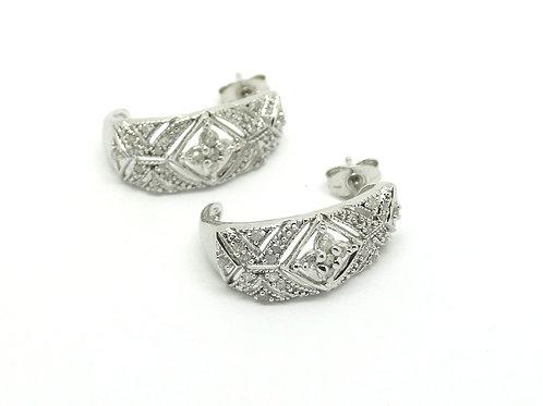 Diamond Sterling Silver Art Deco style Earrings