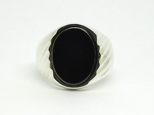 Mens Mexico TAXCO Black ONYX Sterling Silver Ring s.11
