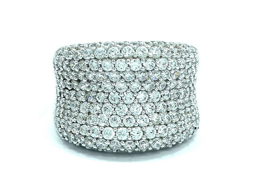 IMENA Iced Cocktail CZ Cluster Sterling Silver Statement Ring s.8