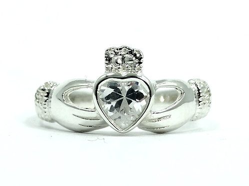 Beautiful CLADDAGH Irish Love CZ Heart in Hands 925 Sterling Silver Ring
