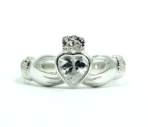 c7be386cb Beautiful CLADDAGH Irish Love CZ Heart in Hands 925 Sterling Silver Ring