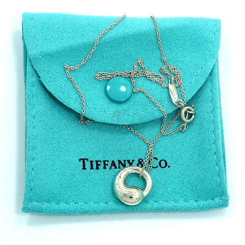 Tiffany & Co ELSA PERETTI Silver ETERNAL LOVE Eternity Circle Pendant Necklace