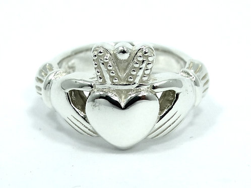 Beautiful CLADDAGH Irish Love Heavy Heart in Hands 925 Sterling Silver Ring