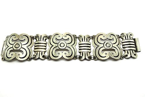 Large Mexican Designer CA Sterling Silver Bracelet