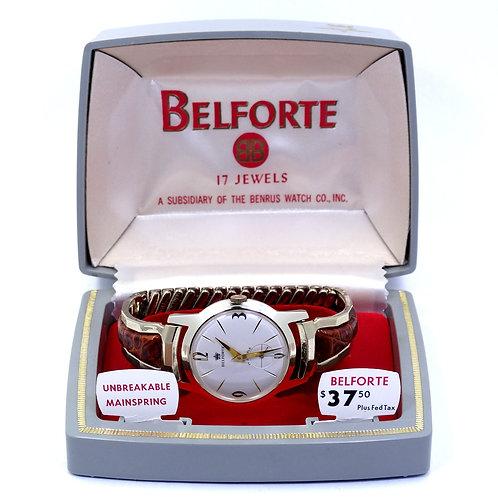 NIB Vintage 1960's BELFORTE Benrus 17 Jewel Hand-Winding Watch