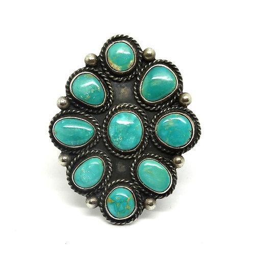 Amazing Large ZUNI Turquoise 925 Silver Ring