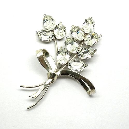 Sparkling CORO Sterling Silver Rhinestone Pin