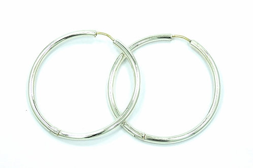 "Retired ZINA 1-1/2"" Sterling Silver 14k Gold post HOOP Earrings"