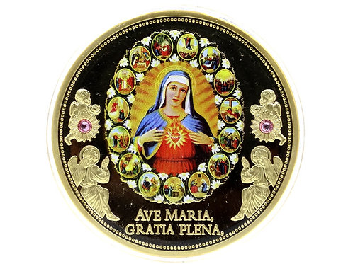 2016 AVE MARIA - HAIL MARY 15 Mysteries ROSARY American Mint Gold Plate Coin