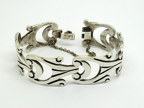 Vintage RJH Mexico Sterling Silver Link Bracelet