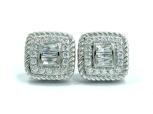 Stunning JUDITH RIPKA 3 Baguette CZ Cable HALO Sterling Silver Clip On Earrings