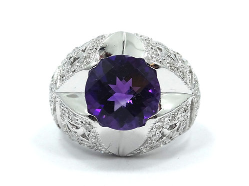 SAMUEL BENHAM BJC Art Deco style Pillow cut Amethyst Diamond 14k White Gold Ring