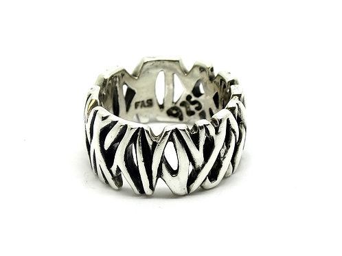 Sterling Silver Criss-Cross Stick Jungle Band Ring