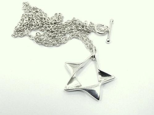 GEORG JENSEN Denmark Modernist STAR Pendant #178 925S Silver Toggle Necklace