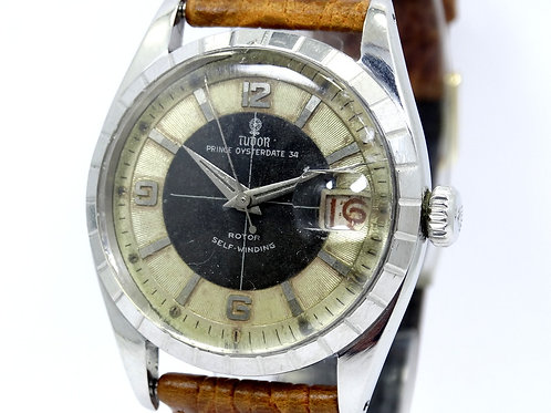 Vintage 1959 TUDOR PRINCE OYSTER DATE 34 Model 7944 Black/Silver Dial Watch