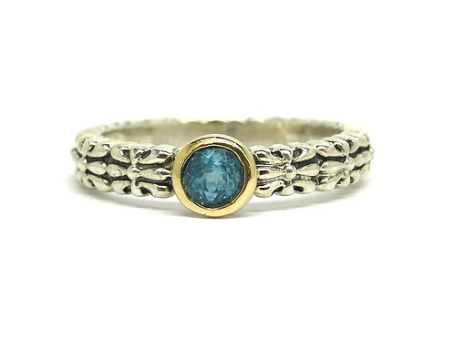 T&C TOWN & COUNTRY Blue TOPAZ 14k Gold and Sterling Silver Filigree Ring