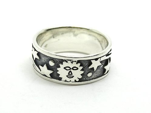 Sterling Silver Shooting Star Sun Band Ring S-8.5