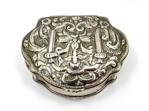 Antique Repousse PERSIAN TURKISH ARABIC Sterling Silver Pill Box Container