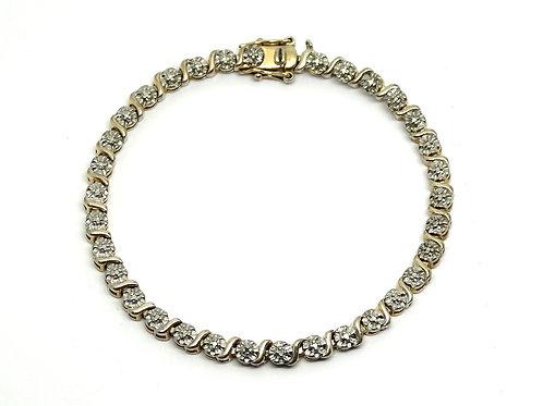 Sterling Silver Flower Pattern Tennis Bracelet