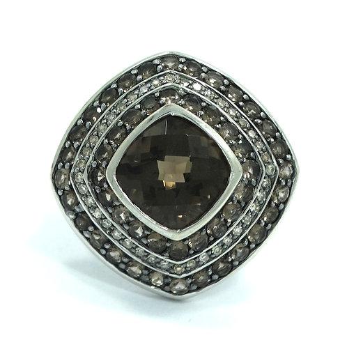 Gorgeous SJCBS Cushion Cut SMOKY QUARTZ Diamond HALO Sterling Silver Ring s.8
