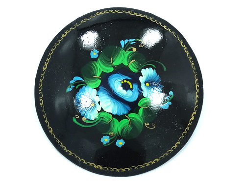 Russian Signed ELVINS Hand Painted Blue Green FLOWER Wood Black Lacquer Brooch