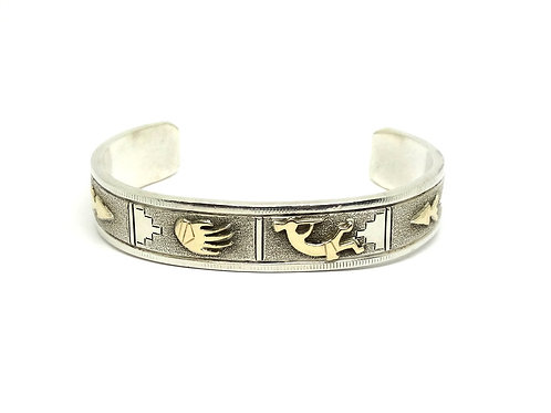 LEE BENNETT Pictograph Navajo 14K Gold Silver Cuff