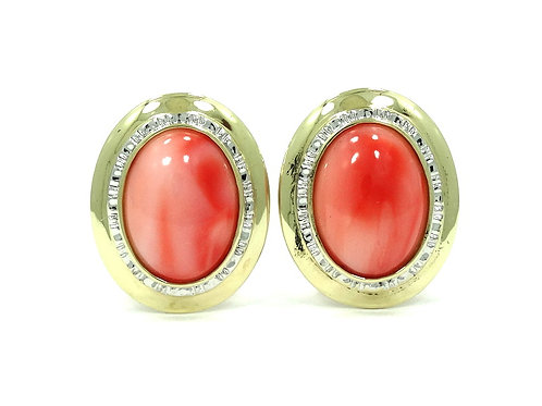 Fabulous Angel Skin Natural Pink CORAL Oval 14k Gold French Clip Post Earrings