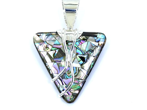DTR JAY KING Reversible Malachite Abalone ARROW HEAD Sterling Silver Pendant
