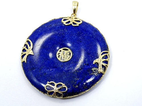Lovely Blue LAPIS LAZULI 37mm Donut 585 14K Yellow Gold Hong Kong Pendant