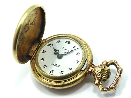 Vintage ARNEX France Filigree 17J Hand Winding Mechanical Pendant Pocket Watch