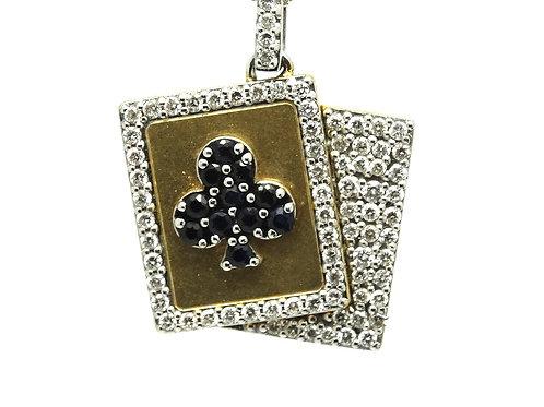 Lucky Ace! Sapphire Club Diamond 18k Gold Pendant