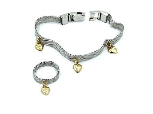 Somerset Style 18k Yellow Gold Hearts & Stainless Steel Mesh Bracelet Ring Set