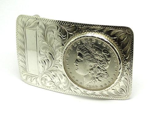 """HE"" Morgan Silver Dollar Sterling Belt Buckle 74I"