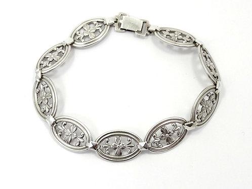 """1940's Vintage WRE Floral Filigree Sterling Silver Bracelet 7-1/8"""""""