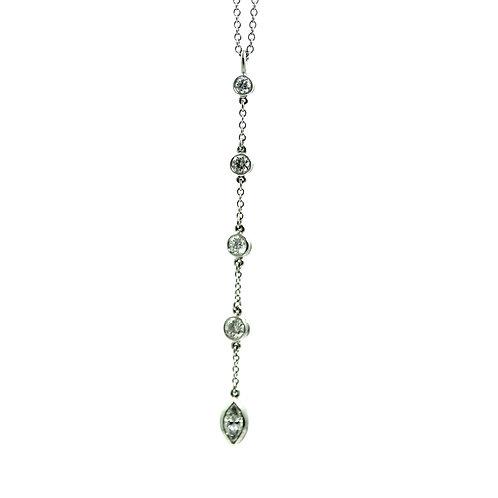 TIFFANY & CO Platinum Marquise Lavalier 5 Diamond Dangle Pendant Necklace