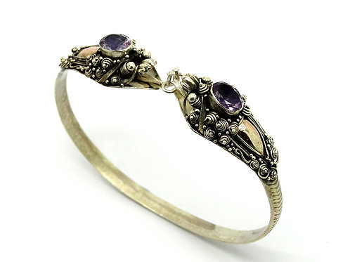 Vintage Asian BALI SNAKE Sterling Silver & 18k Gold Amethyst Bangle Bracelet