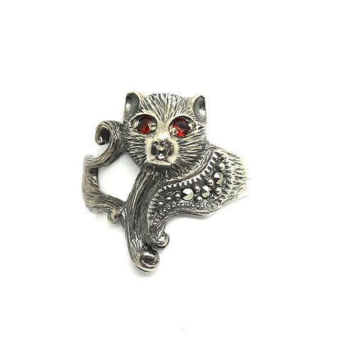 Fun Sterling Silver Garnet Marcasite CAT Ring