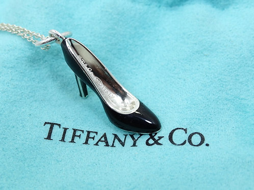 TIFFANY & CO Stiletto HIGH HEEL Pump Black/Blue Enamel 925 Silver Charm Necklace