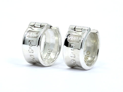 1837 TIFFANY & CO 925 10mm WIDE Huggie HOOP Sterling Silver Earrings