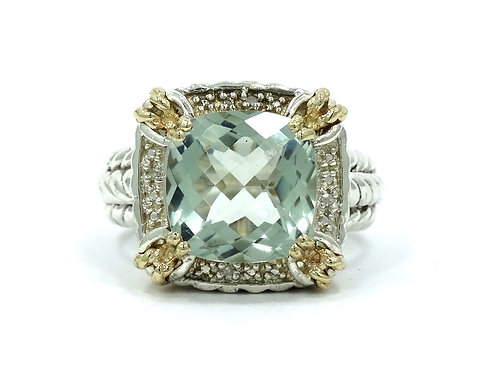 T&C Town & Country Green PRESIOLITE Diamond 14k Gold Sterling Silver Ring