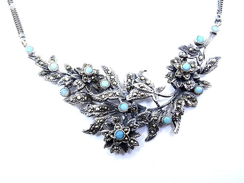 Antique ART DECO C. 1920's Turquoise Marcasite FLOWER Sterling Silver Necklace