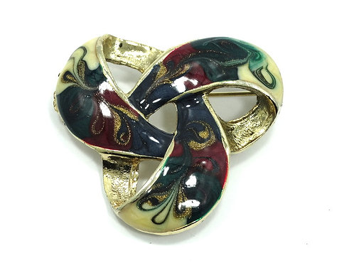 Beautiful CELTIC KNOT Infinity style Multicolored Enamel Brooch Pin- Made in USA