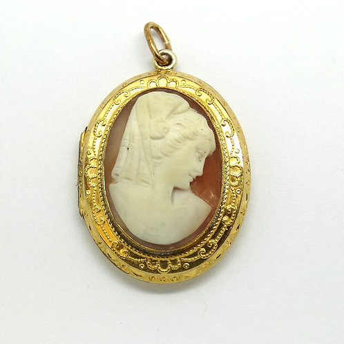 Art Deco Vintage CAMEO GF Locket Pendant F.M.Co